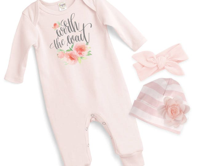 Baby Girl Pink Romper, Newborn Girl Take Home Romper, Worth the Wait Baby Bodysuit, Pink Long Sleeve Romper, TesaBabe