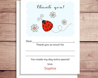 Fill-in Thank You Notes - Ladybug Flat Notes - Ladybug Thank You - Childrens Thank You Cards- Illustrated Note Cards