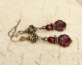 Red Earrings, Burgundy Earrings, Maroon Earrings, Ruby Earrings, Flower Earrings, Dark Red Earrings, Czech Glass Beads, Red Flower Earrings