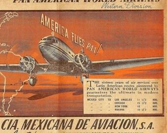 pan american world airways mexicana aviacion advertising  1930s download