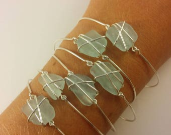 Wire Wrapped Sea Glass Bracelet, Seaglass Bracelet, Sea Glass Jewelry, Seaglass Jewelry, Beach Glass Bracelet, Beach Glass Jewelry, Beachy