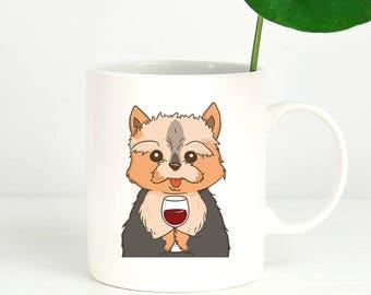 Yorkshire Terrier Drink Wine Coffee Mug, Yorkie Dog Coffee Mugs, Funny Coffee Mug, Dog lover gift Cup Mug