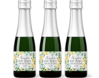 Baby Shower Mini Champagne Bottle Labels - Weatherproof Rustic Floral Baby Boy Shower Favor - Mini Wine Woodland Baby Sprinkle