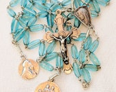 Rosary - French Blue Vintage Glass - Saint Mary Magdalene & Saintes-Maries - Sterling Silver