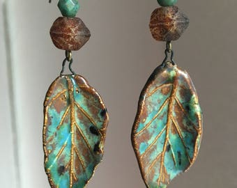 Primitive Ceramic Earrings with Antique Earhooks