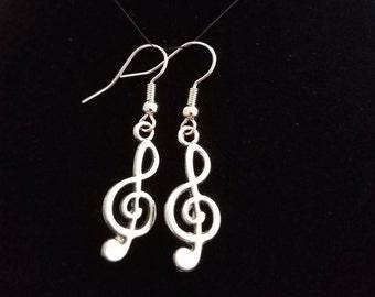 Treble Clef Music Earrings