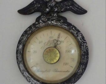 Vintage Thermometer, Eagle Thermometer, Vintage Temperature Gauge, Springfield Thermometer, Small Wall Thermometer, Shabby Wall Thermometer