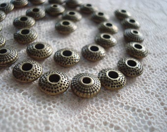 40 Antique Bronze Textured Solid Rondelle, Abacus, Disc Spacers. 2 Style MIX 8.5mm x3mm or x2.5  Holes 1.6 and 2mm ~USPS Ship Rates from OR