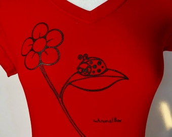 Lady Bug Flower Red w/ Black ink