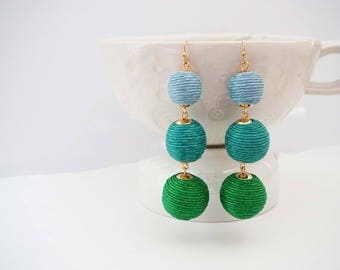 Light Blue, Teal, and Green Ball Statement Earrings