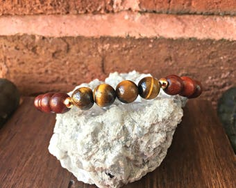 Rosewood & Tiger's Eye 8mm Beaded Stretch Bracelet Chakra Healing Energy