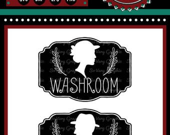 Vintage Silhouette Washroom Signs | Cutting Files | Printable | svg | eps | dxf | png | Home Decor | Stencil | Bathroom | Ladies Room | Men