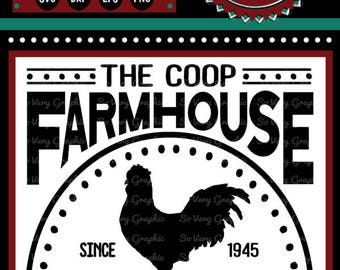 The Coop Farmhouse Bed & Breakfast Sign | Cutting File | Printable | svg | eps | dxf | png | Vintage | Farmhouse | Home Decor | Stencil