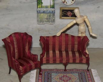 Bespaq Sofa and Winged Chair for 1:12th Dollhouse.    Red Stripe.
