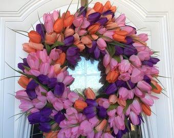 Spring Tulip Wreath Spring Door Hanger Front Door Wreath Multicolored Easter Wreath Flower Wreath Tulip Door Hanger Front Door Decor Spring