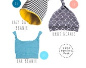 Baby sewing patterns pack. Slouchy beanie pattern. Knot beanie pattern. Ear beanie. Beanie pack. Baby shower. Children sewing pattern.
