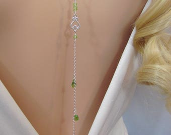 Peridot Backdrop Necklace, Back Necklace, Bridal Back Drop, Cascading Necklace, Wedding Jewelry, August Birthstone Jewelry, Peridot Gemstone