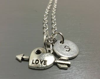 Love Necklace, Custom Necklace, Heart Necklace, Personalized Jewelry, Heart and Arrow, Initial Necklace, Gifts for her, Girlfriend Gifts