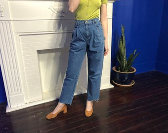 High Waisted Pleated Mom Jeans Size 25, 1980s Lizwear Denim High Waist Mom Jeans size 4 - High Waist Denim High Waisted Pleated Jeans