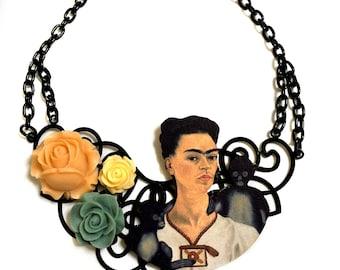 Frida Kahlo, Floral decor, Modern Art, Gothic, Goth style, Big Statement necklace, Art Nouveau, Spanish Decor, Roses, Artist Jewelry, Collar
