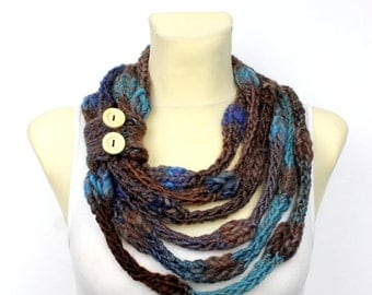 Knit Scarf Necklace Gift for Her Chunky Scarf Birthday Gift Brown Knit Scarf Knit Cowl Scarf Gift Mom Wife Girlfriend Sister Winter Autumn
