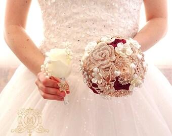 Bridesmaids bouquets. Small brooch bouquet. Rose gold broach wedding bouqet. Jeweled bouquet. Champagne bouquet. Bling bouquet.