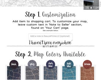 Customized Gift Set for Traveling Friend, Best Travel Gift for Men and Women, Cork Foam Push Pin Travel Map Set - 2 16x20 Maps