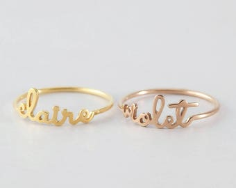Dainty Name Ring - Children Name Ring - Name Ring Gold - Personalized Name Jewelry - Solid Sterling Silver - CNR05