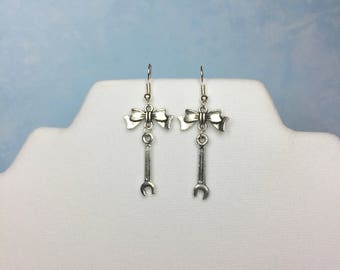 Wrench Earrings-WITH or WITHOUT BOWS-Socket Wrench earrings-socket wrench jewelry-wrench charm-tool charm-mechanics jewelry-wrench-Ms Fixit