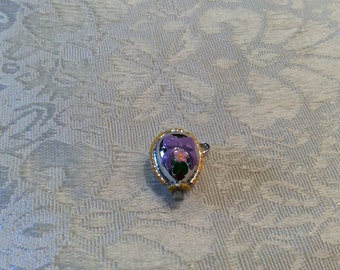 Vintage Enamel Egg Stanhope - The Lords Prayer ~ Purple Ribbon Pendant Easter Egg Charm
