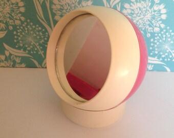 Mirror Go Round, Pink mirror, retro mirror, mod mirror, retro pink bathroom, round mirror, sewing kit, makeup mirror