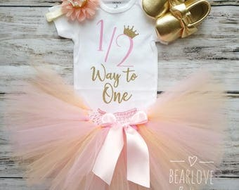 Peach Gold Half Birthday Outfit | 1/2 Birthday Outfit | 6 Months Birthday Outfit| Half Princess Birthday | Cake Smash Outfit | Photo Prop