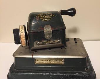Antique 1918 Vintage Safe-Guard Check Writer Model G