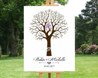 Wedding Thumbprint Tree Guest Book | Alternative | Baby Shower | Bridal Shower | Anniversary Gift For Couple | Custom Canvas - 51377