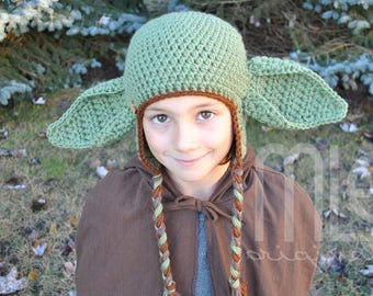 """Crochet Hat PATTERN """"Wise Master"""" by MLE Originals, Yoda-inspired Hat Pattern, Inspired by Star Wars Crochet Pattern, Green Alien Pattern"""