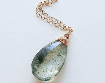 Phantom Quartz Necklace, Lodolite Necklace, Garden Quartz Necklace, Phantom Quartz Jewelry, Large Gemstone Pendant, Genuine  Phantom Quartz