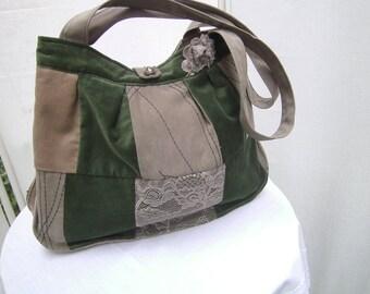 green Patchworkbag - Handmade Purse - Upcycled Tote Bag - Womens Purse - Boho Bag - Recycled Handbag - Lace Purse - Gift Idea