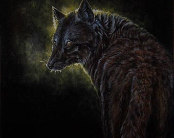 Black wolf, acrylic painting on canvas