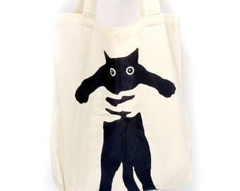 tote bag shopping shoulder stamp screen printed natural cotton market tote black cat - gift for her- cat lovers