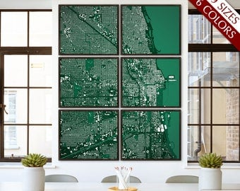 "Chicago map, Map of Chicago IL, 6 colors, 9 sizes up to 72x90"" Large Chicago art map in 1 piece or 6 parts - Limited Edition of 100"