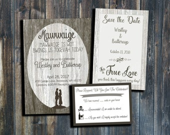 The Princess Bride Printable Wedding Invitation, Save the Date, and RSVP set - Customize and Personalize your package!