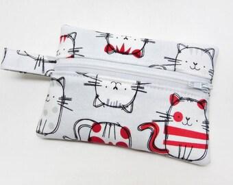 Coin purse, zipper pouch, zipper purse, change wallet, cat coin purse, cat zipper pouch, kids coin purse, cat wallet, cat lover accessory