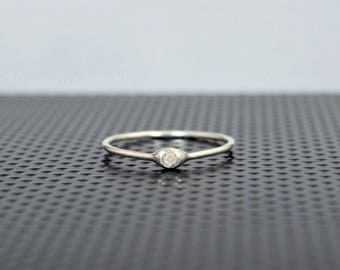 Dainty Silver Opal Mothers Ring, Opal Birthstone, Tiny Opal Ring, Dew Drop Ring, Sterling Silver, Stacking Ring, October Birthday Gift