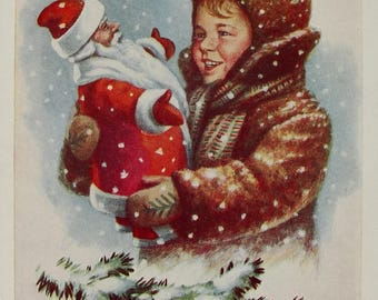 Happy New Year! Illustrator E. Gundobin - Vintage Soviet Postcard, 1961. Child Boy Ded Moroz Snow Snowflakes Winter Merry Christmas Print