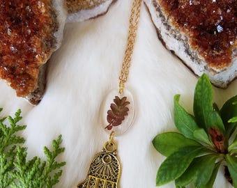Hamsa Hand Wild Fern Necklace