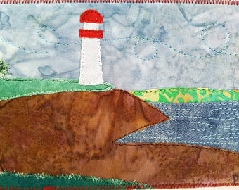 Lighthouse Quilted Postcard / Art Quilt / Landscape Art / Lighthouse Art / Fabric Postcards / Handmade Postcards / Small Gift Ideas