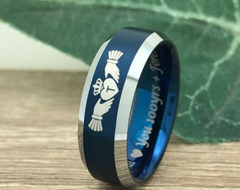 8MM Claddagh Tungsten Ring, Two Tone Blue Plated Tungsten Wedding Ring Personalized Custom Engrave Date Ring, Comfort Fit Ring