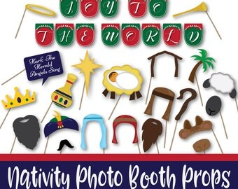 Christmas Photo Booth Props and Banner - Christmas Nativity - Includes over 30 Images in PDF Format - Instant Digital Download