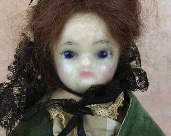 Antique wax-over doll, wax over papier mache doll with elaborate costume