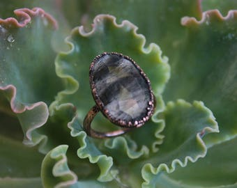 SALE | Moss Rutile Quartz | Black Rutilated Quartz | Statement Piece | Quartz Ring | Copper Quartz Ring | Size 7 | Ready-To-Ship